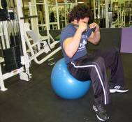 Low-pulley swiss ball crunches 2