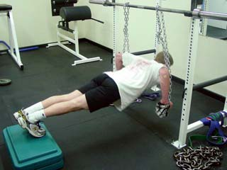 Suspended chain push-ups